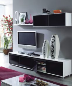 Black and White Gloss TV Complete Wall Cabinet