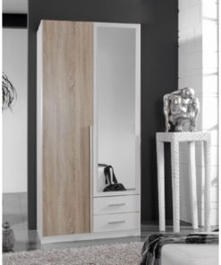White and Oak effect 2 Door 2 Drawer Wardrobe