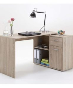 corner desk oak effect