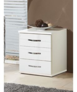 WHITE GLOSS BEDSIDE CHEST OF DRAWERS