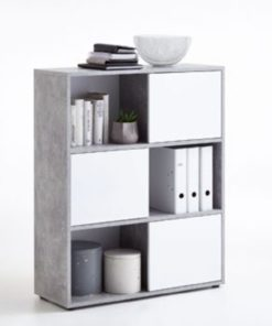 Concrete grey and white color combination beautiful design book shelf with door.