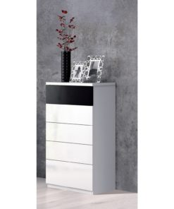 Balck and White Gloss Tall Chest Of Drawers