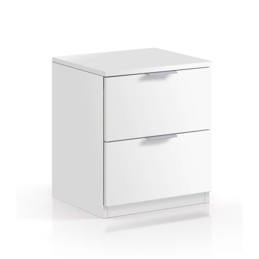 2 drawer bedside in artic white.