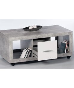 White gloss and stone grey coffee table with drawer.