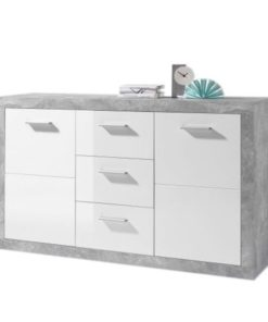 Large Sideboard Grey and White Gloss 2 DOOR, 3 DRW