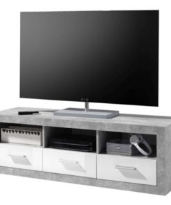 White gloss and stone grey large tv cabinet 147cm wide. Furniture drop ship service available.