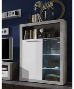 white gloss glass display cabinet with led light
