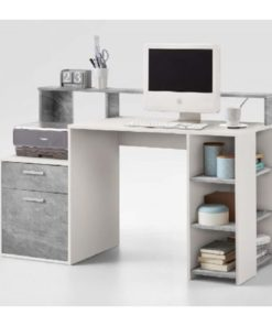 Desk with hutch in white and concrete grey.