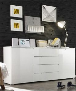 White High Gloss Wide Sideboard S8 - 2616