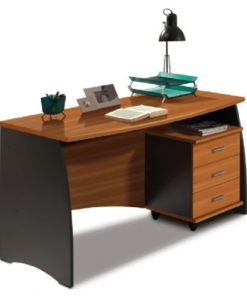 Nut Brown and Office Grey Desk With Drawers -