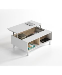 Modern storage coffee table in oak and white. Featuring latest design with modern homes in mind.