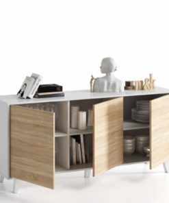 Sideboard White with Oak Effect - 2607