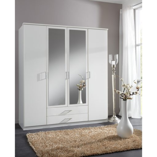 Alpine White 4d 2drw Wardrobe